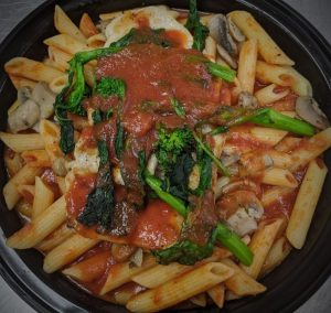 Penne with Grilled Chicken, Mushrooms & Rapini